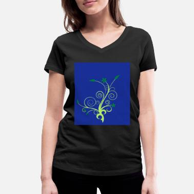 Fauna flower flora fauna tendril plant - Women's Organic V-Neck T-Shirt by Stanley & Stella