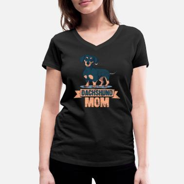 Love Mom Dachshund Mom Doxie Dog Love Mom - Camiseta ecológica mujer con cuello de pico de Stanley & Stella