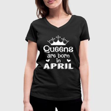 April - Queen - Birthday - 1 - T-shirt ecologica da donna con scollo a V di Stanley & Stella