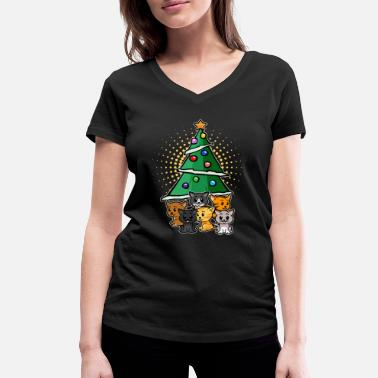 Cat Christmas Christmas With Cats Gift For Cat Owner - Women's Organic V-Neck T-Shirt by Stanley & Stella