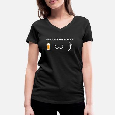 Boob simple man like boobs beer beer tits golf sports - Women's Organic V-Neck T-Shirt by Stanley & Stella