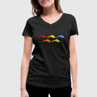 Colourful Dolphins dolphins - Women's Organic V-Neck T-Shirt by Stanley & Stella