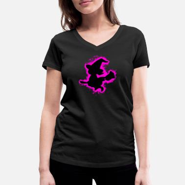 Girl Outline Girl witch pink and black outline - Women's Organic V-Neck T-Shirt by Stanley & Stella