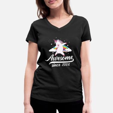 Awesome Since Awesome since 2008 - dabbing unicorn - T-shirt med V-udskæring dame