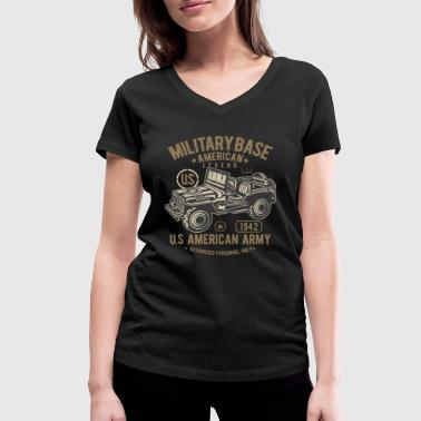 American Army Jeep Design - Women's Organic V-Neck T-Shirt by Stanley & Stella