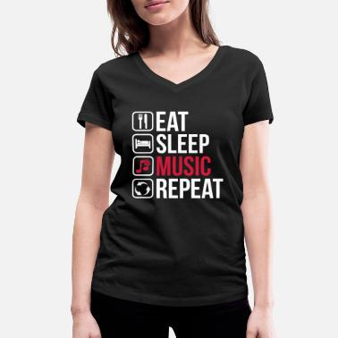 Dj Eat Sleep Music Repeat - Ekologisk T-shirt med V-ringning dam