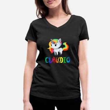 Claudio Claudio unicorn - Women's Organic V-Neck T-Shirt by Stanley & Stella