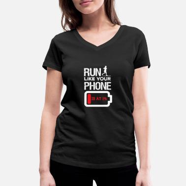 Low Battery Go jogging like your phone's battery low - Women's Organic V-Neck T-Shirt by Stanley & Stella