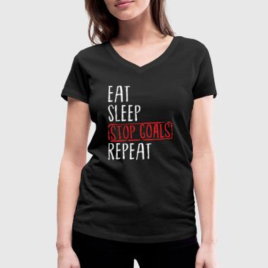 Lacrosse - Eat Sleep Stop Goals Repeat - Women's Organic V-Neck T-Shirt by Stanley & Stella