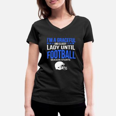 Ladies Football Football Lady season start - Women's Organic V-Neck T-Shirt by Stanley & Stella