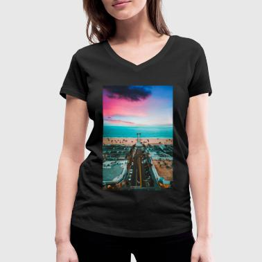 Manhattan Beach Pier - Women's Organic V-Neck T-Shirt by Stanley & Stella