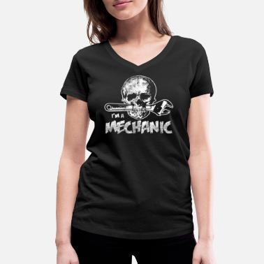 Mechanical Skull Mechanic mechatronics mechanics skull work - Women's Organic V-Neck T-Shirt by Stanley & Stella