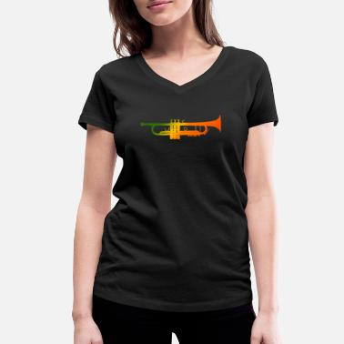 Reggae Colors trumpet reggae colors - Women's Organic V-Neck T-Shirt by Stanley & Stella