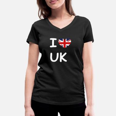 Gb Souvenir I love UK flag United Kingdom - Women's Organic V-Neck T-Shirt