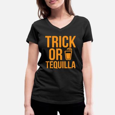 Tequila Unicorn Halloween Shirt Trick Or Tequila Orange Gift Tee - Women's Organic V-Neck T-Shirt by Stanley & Stella