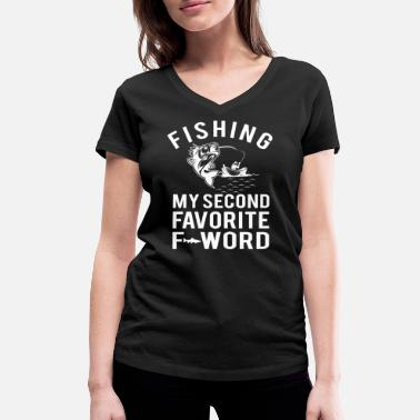 F-word Fishing Favorite F Word - Women's Organic V-Neck T-Shirt by Stanley & Stella