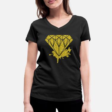 Gold Diamond Gold Glitter Style Fashion Glitter Unique - Women's Organic V-Neck T-Shirt