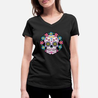 Mexico Day Of The Dead Dia de los Muertos Skull- - Women's Organic V-Neck T-Shirt by Stanley & Stella