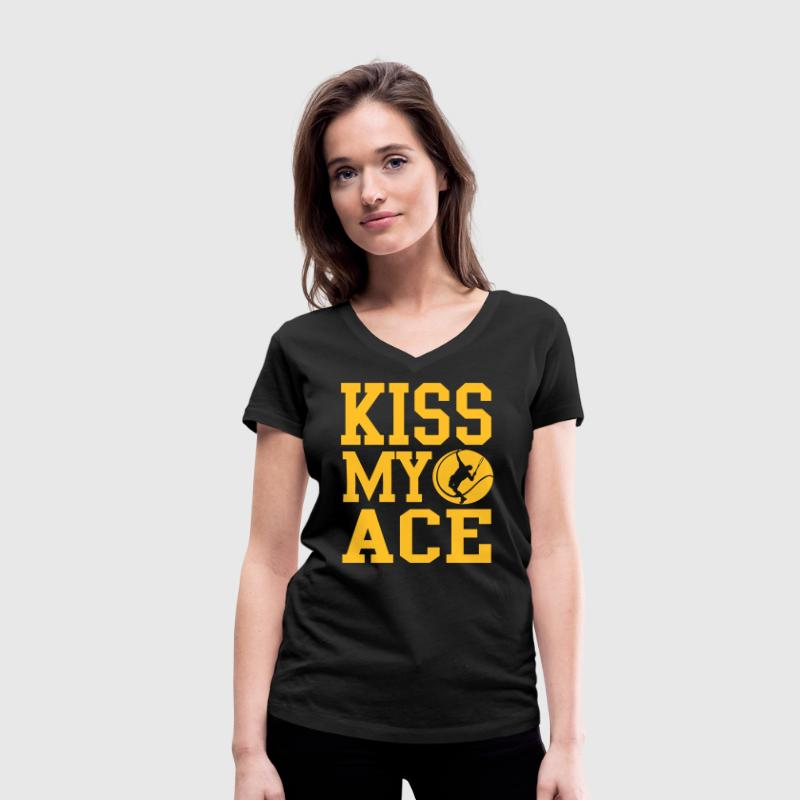 Tennis - kiss my ace - Women's Organic V-Neck T-Shirt by Stanley & Stella