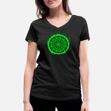 Breezy Mandala spiritual green and black outline - Women's Organic V-Neck T-Shirt by Stanley & Stella