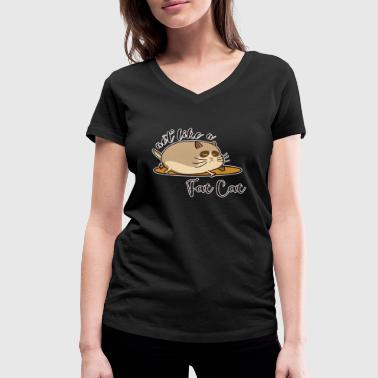 Fat Animals Fat Cat - Fat cat - Women's Organic V-Neck T-Shirt by Stanley & Stella