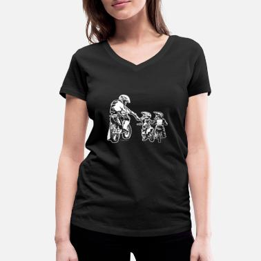 Kids Biker Biker Dad and Two Kids - Women's Organic V-Neck T-Shirt by Stanley & Stella