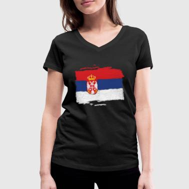 Serbia flag - Women's Organic V-Neck T-Shirt by Stanley & Stella