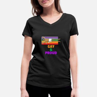 Lesbian Proud Gay and proud of it Lesbian Homo LGBT - Women's Organic V-Neck T-Shirt by Stanley & Stella