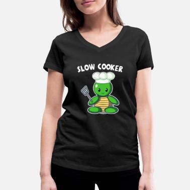 Slow Turtle Slow Cooker Turtle - Women's Organic V-Neck T-Shirt by Stanley & Stella