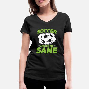 Soccer Pitch Soccer Goal Ball League healthy pitch sports game - Women's Organic V-Neck T-Shirt by Stanley & Stella