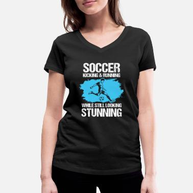Halftime Soccer Sport Hobby Player Halftime Goal Field of play - Women's Organic V-Neck T-Shirt by Stanley & Stella
