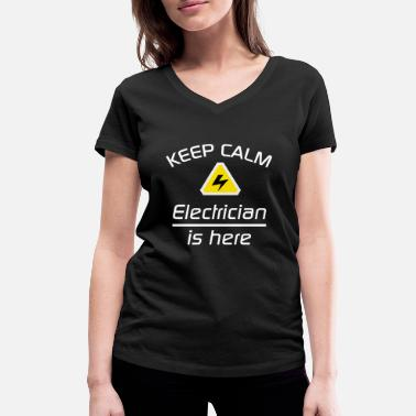 Keep Clam Keep Clam - Electrician - for black background - Women's Organic V-Neck T-Shirt by Stanley & Stella