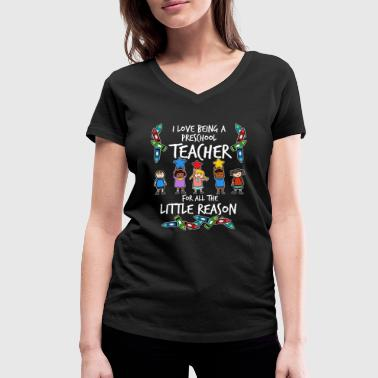 Preschool Kindergarten teacher educator caregiver preschool - Women's Organic V-Neck T-Shirt by Stanley & Stella