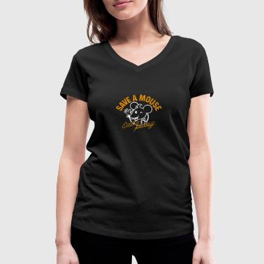 Pussy Mouse Funny Save A Mouse, Eat a Pussy Gift - Women's Organic V-Neck T-Shirt by Stanley & Stella
