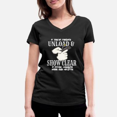 Womens Gun Shoot Shooting Pistol Unloading Bullet Firearm - Women's Organic V-Neck T-Shirt by Stanley & Stella