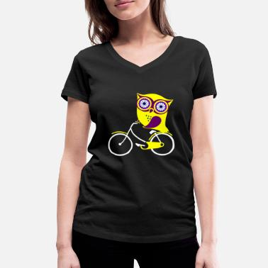 Owl owls gift wheel bike bike - Women's Organic V-Neck T-Shirt by Stanley & Stella