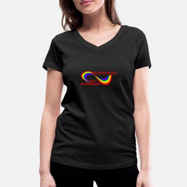 Sex Dino Pregosaurus Sex Rainbow - Women's Organic V-Neck T-Shirt by Stanley & Stella
