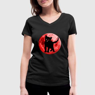 Full Blood Full moon cat blood moon funny cute shirt - Women's Organic V-Neck T-Shirt by Stanley & Stella