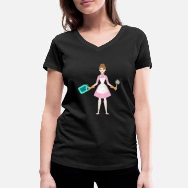 Lady Housewife illustration cleaning lady children drawing - Women's Organic V-Neck T-Shirt by Stanley & Stella
