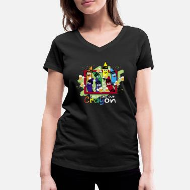 Crayons Crayon Shirt Drinking Let's Get Our CRAYon - Women's Organic V-Neck T-Shirt by Stanley & Stella