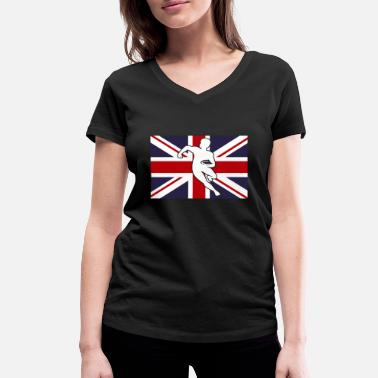 England Rugby Flag Rugby player gift Great Britain England - Women's Organic V-Neck T-Shirt by Stanley & Stella