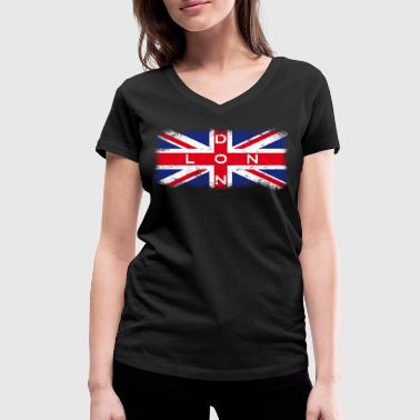 London Union Jack Vintage - Women's Organic V-Neck T-Shirt by Stanley & Stella