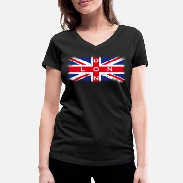 London England Union Jack London Union Jack Vintage - Women's Organic V-Neck T-Shirt by Stanley & Stella
