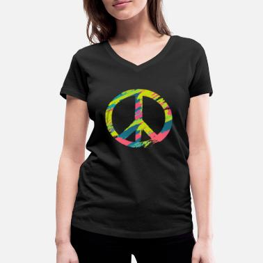 Love Dove Generation Peace Sign | Peace life society flowers - Women's Organic V-Neck T-Shirt by Stanley & Stella