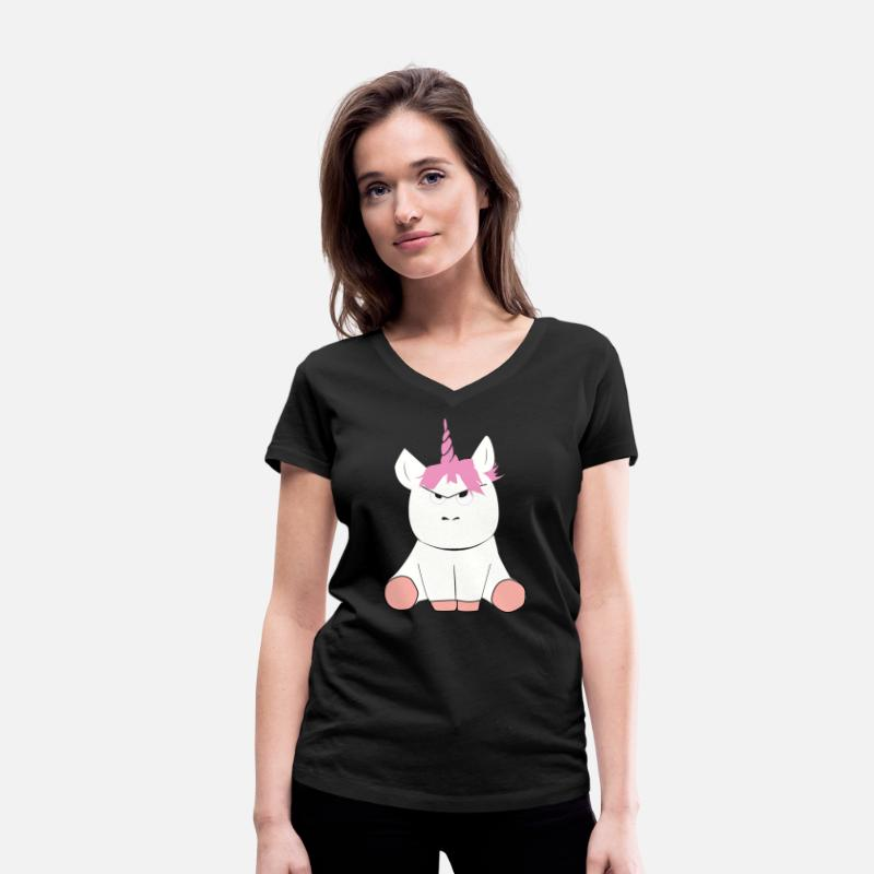 Unicorn T-Shirts - Grumpy Unicorn Einhorn - Women's Organic V-Neck T-Shirt black