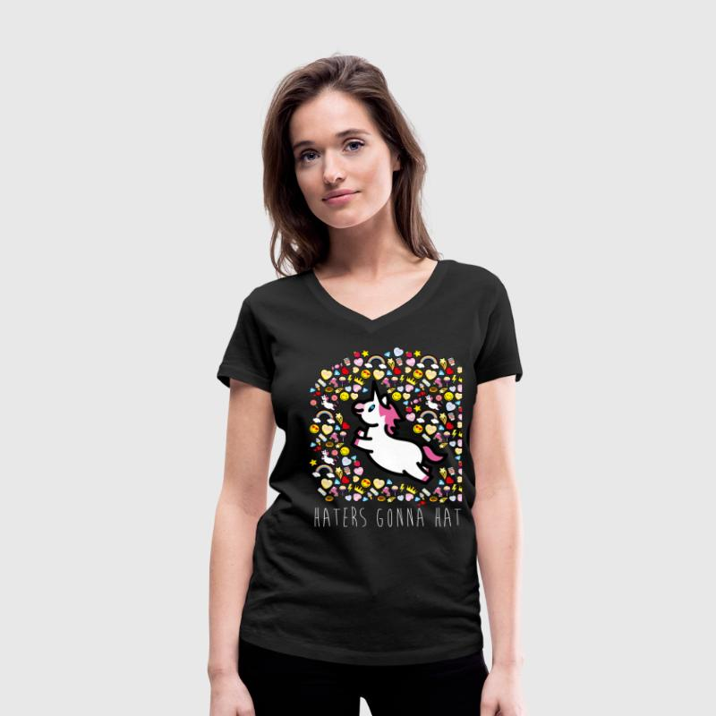 SmileyWorld Unicorn Haters Gonna Hate - Camiseta ecológica mujer con cuello de pico de Stanley & Stella