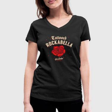 Rocknroll Tattooed Rockabella - Women's Organic V-Neck T-Shirt by Stanley & Stella