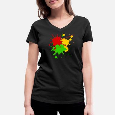 Reggae Colors Reggae colors Africa Roots flag color splashes - Women's Organic V-Neck T-Shirt by Stanley & Stella