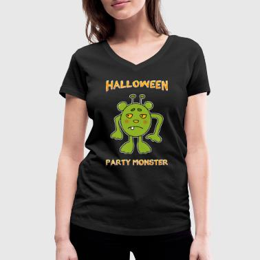 Green Halloween Party Monster - Women's Organic V-Neck T-Shirt by Stanley & Stella