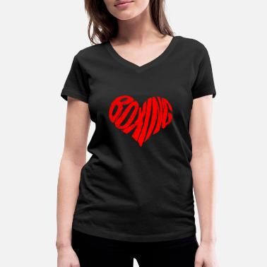 Box Head Boxing Sport Player I Boxing Revision Heart - Women's Organic V-Neck T-Shirt by Stanley & Stella